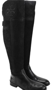 Tory Burch Over The Knee Flat Riding Leather Thigh High Black Boots