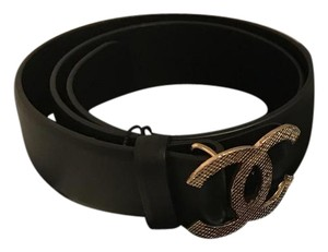 Chanel Chanel Soft Leather Silvertone CC Belt