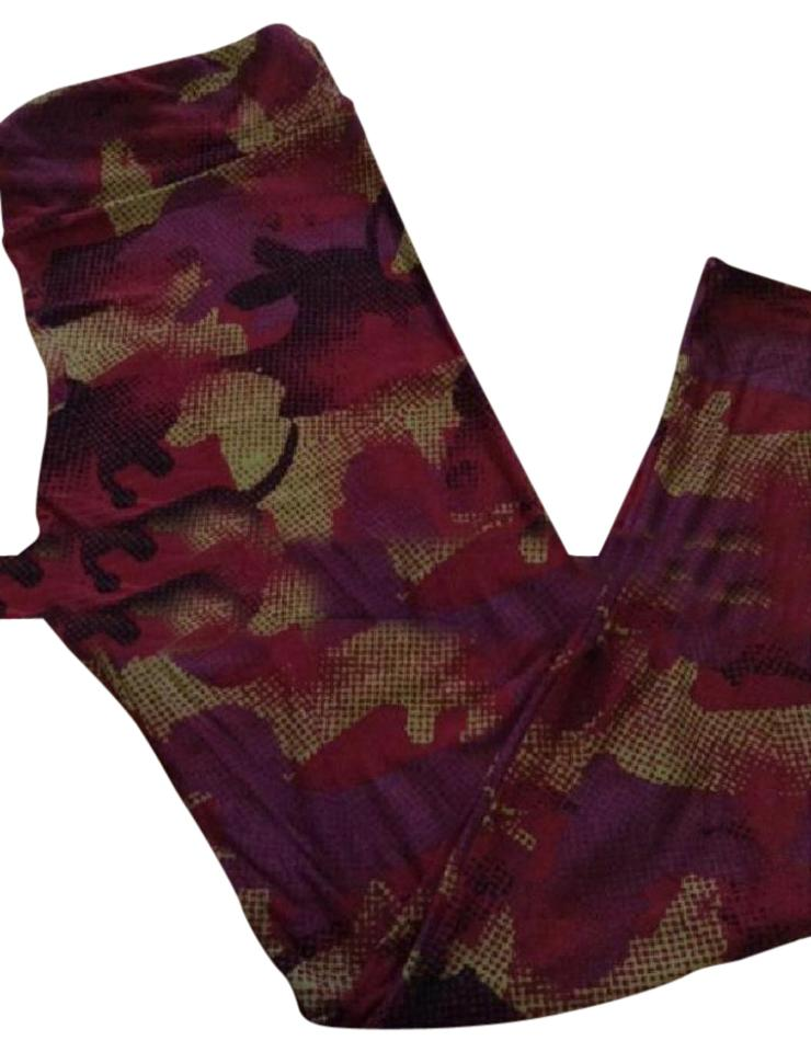 0cae70dd6dd6f2 LuLaRoe Maroon Magenta Black Yellow Leggings Size 16 (XL, Plus 0x ...