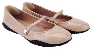 Prada Ballerina Round Toe Patent Leather Rubber Nude Flats