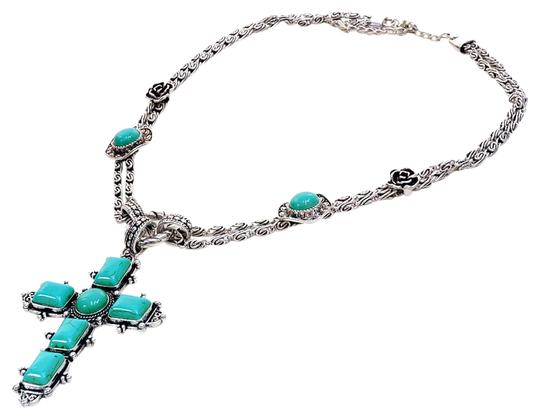 Preload https://img-static.tradesy.com/item/20550060/turquoise-silver-tone-metal-cross-pendant-necklace-0-1-540-540.jpg