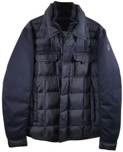 Moncler Front Snap Chest Flap Adjustable Cuffs High-loft Down Fill Front Zip Closure Navy Blue Jacket