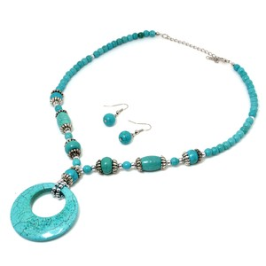 Other Turquoise Disc Pendant with Silver-Tone Accents and Earrings