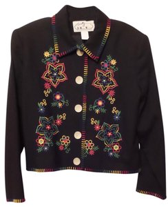 Scully Western Vintage Large Black w/ Multi-Color Embroidery Jacket