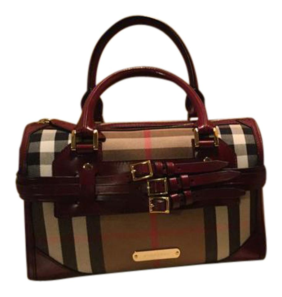 7661b171f96 Burberry Bridle House Check Medium Alchester Bowling Red Claret ...