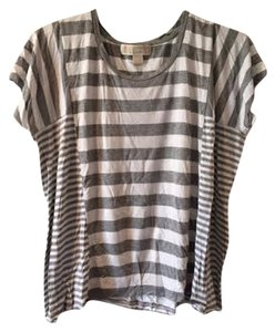 Michael Kors Stripes Geo T Shirt Gray and White