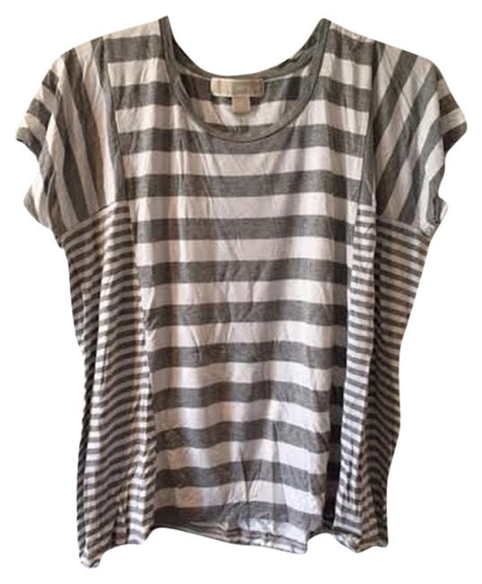 Preload https://item4.tradesy.com/images/michael-kors-gray-and-white-stripes-geo-tee-shirt-size-2-xs-2055023-0-0.jpg?width=400&height=650