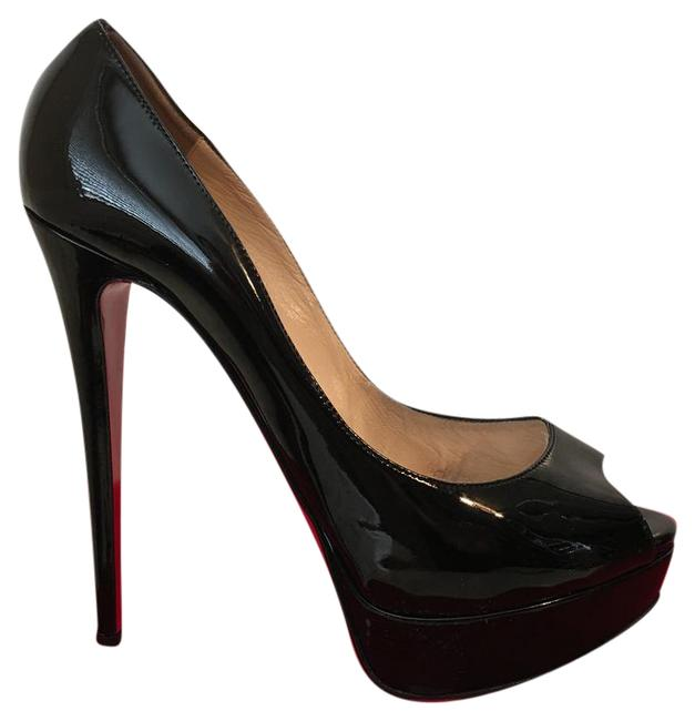 Christian Louboutin Lady Peep Black Patent Leather 40.5 Pumps Size US 9.5 Regular (M, B) Christian Louboutin Lady Peep Black Patent Leather 40.5 Pumps Size US 9.5 Regular (M, B) Image 1