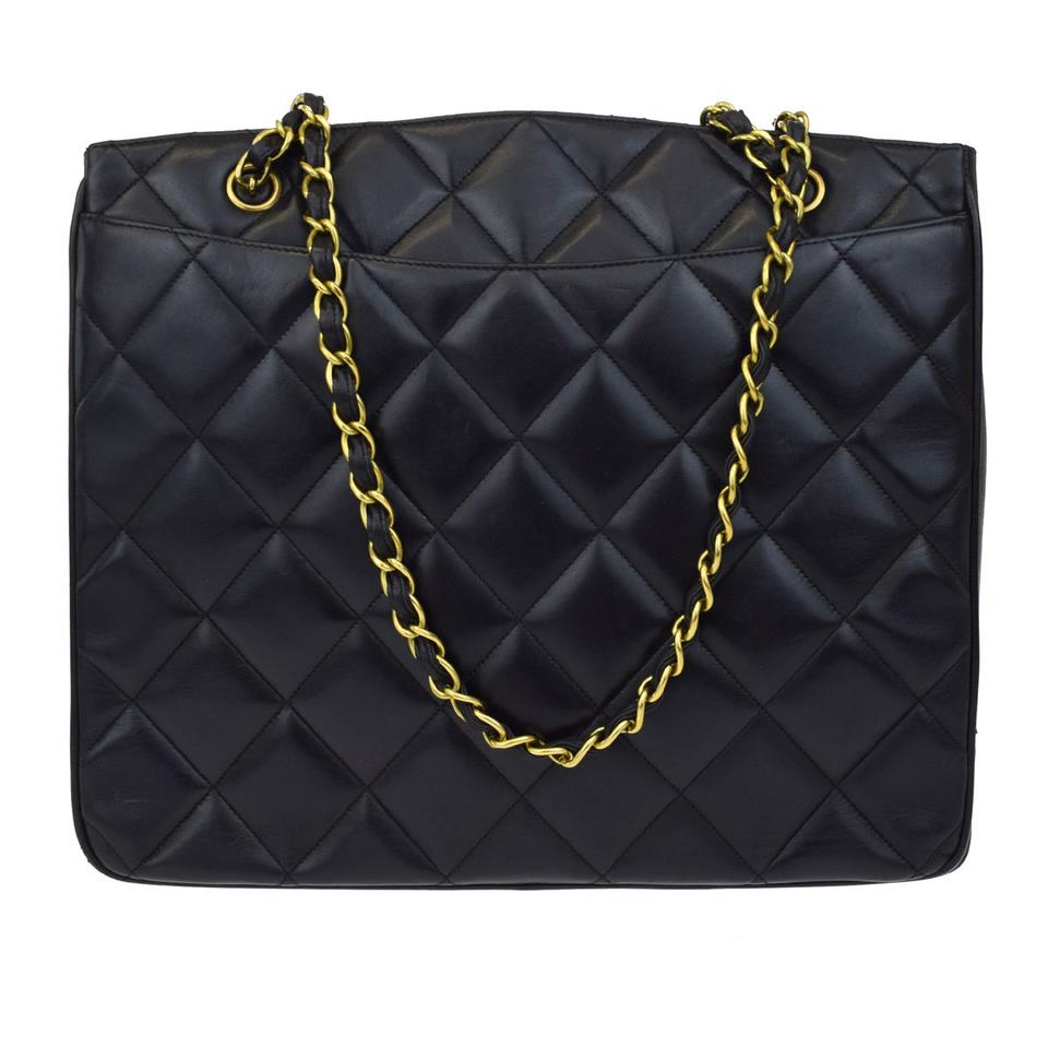 8d4b6680f6c9 Chanel Noir Cc Quilted Gold Chain Lambskin Tote Purse Black Leather ...