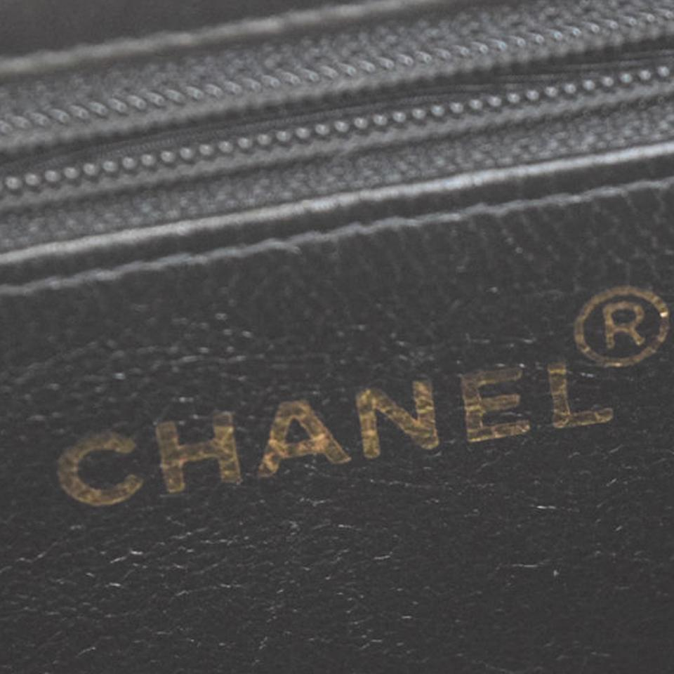 55d47a308d99 Chanel Noir Cc Quilted Gold Chain Lambskin Tote Purse Black Leather ...