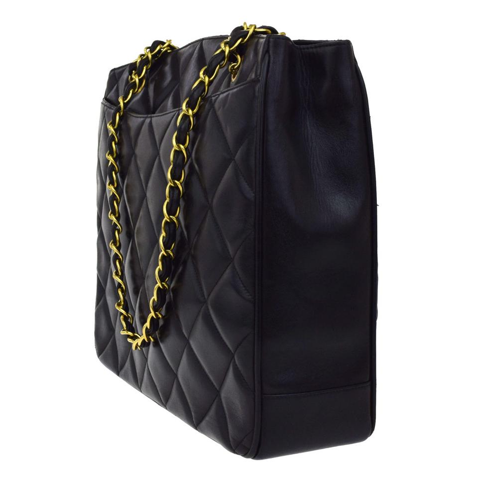 7128eb3062af Chanel Noir Cc Quilted Gold Chain Lambskin Tote Purse Black Leather  Shoulder Bag - Tradesy