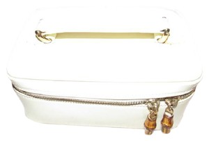 Gucci But Roomy Dual Zip Closure Excellent Vintage Restored Lining Bamboo Accents Satchel in white patent leather