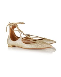Aquazzura Christy Gold Flats