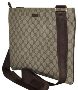 Gucci Leather Tote Messenger Cross Body Bag