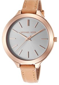 Michael Kors Michael Kors Women's Slim Runway Beige Genuine Leather Champagne Dial