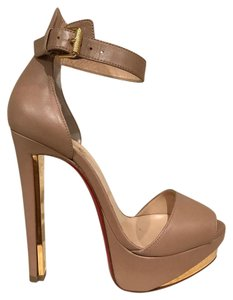 Christian Louboutin Tuctopen Ankle Strap Stiletto Platform Leather nude Pumps