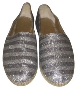 Enzo Angiolini Espadrille Glitter Causual Statement Comfortable Pewter Flats