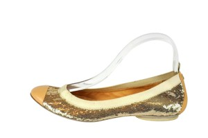 Chanel Gold Sequin Embellished Cap Toe Gold/Nude Flats