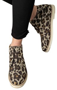 Stella McCartney Animal Rint Leopard Print Lace Ups Canvas Jane Desert Multicolor Boots