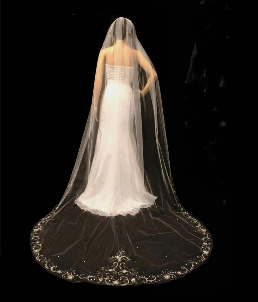 White Diamond Champagne Or Ivory Long Regal Beaded Embroidery Cathedral Length Bridal Veil