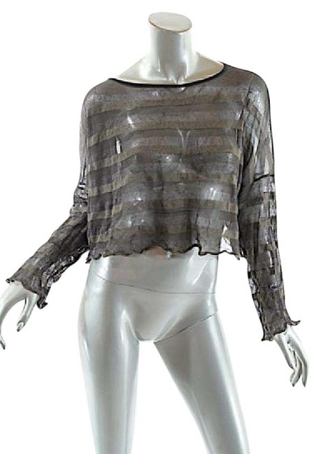Item - Brown/Taupe/Metal Cotton Blend Striped Boatneck Crop Brown Taupe & Bronze Sweater