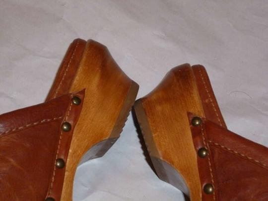 Frye Leather Clara Campus Boho Bohemian Cognac-Tan Clogs Platforms