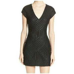 Parker Mini Party Leather V-neck Bodycon Dress
