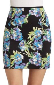 Elizabeth and James Mini Floral Scuba Neoprene Skirt Black / Blue