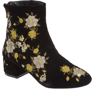 Topshop Blossom Embroidered Velvety Back Zip Closure Black/Yellow Multi Boots