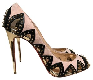Christian Louboutin Ballerina Spike Stiletto Open Toe gold Pumps