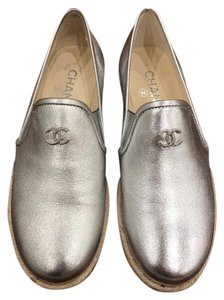 Chanel Lambskin Leather Espadrille Logo Metallic silver Athletic