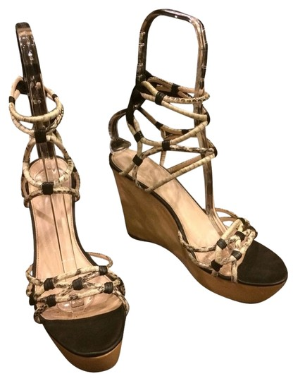 Elie Tahari Christian Louboutin Sandals Sandals Python Strappy Ysl Saint Laurent Yves Saint Laurent Cole Haan Tory Burch Prada Nude Black Wedges