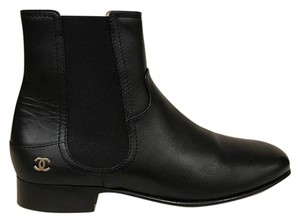 Chanel Chelsea Leather Calfskin Logo black Boots