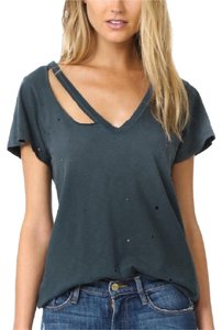 LNA Distressed Fallon V Neck T Shirt distressed black