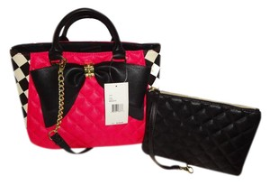 Betsey Johnson Quilted Heart Satchel in fuchsia