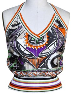Etro Black, Orange, Ivory, Purple, Green Halter Top