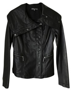 Vince Motorcycle Leather Asymmetrical Classic High Collar Leather Jacket