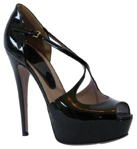 Gucci 323528 Patent Leather Platform Black Pumps
