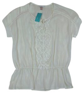 Christopher & Banks Sheer Casual Top White