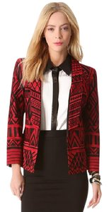 Alice + Olivia Embroidered Print Silk Spring black Blazer