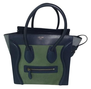 4ee5c26289 Céline Luggage Tri-color Leather Suede Micro Excellent Navy Green Gray  Leather Suede Tote