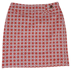 Ann Taylor Geometric Skirt Orange White