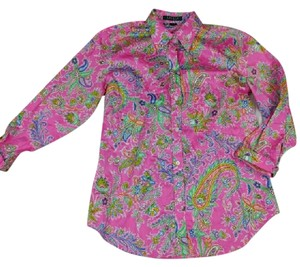 Lauren Ralph Lauren Paisley Button Down Shirt Pink Multi colored