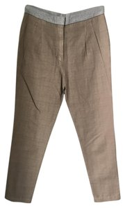 Brunello Cucinelli Casual Detail Trouser Pants Beige and Grey Plaid