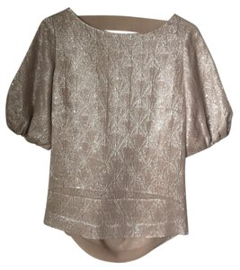 Ports 1961 Metallic Vintage Deep Back Scoop Back Top Silver, Light Pink/Light Beige