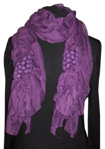 Unknown Purple polyester ruched grape design scarf