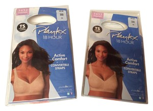 Playtex 2 pkg NEW Playtex 18 Hour Active Comfort Convertible Straps Bra #5452