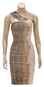 Herv Leger short dress Beige/Multicolor on Tradesy