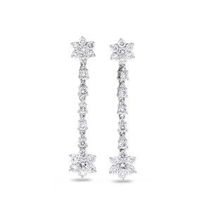 Other 1.38 CT Natural Diamond Dangle Drop Floral Earrings in Solid 18k White