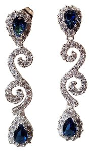 Sapphire Blue Cz Bridal Earrings